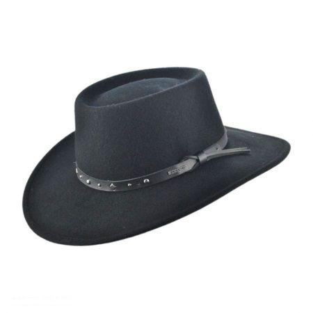 Stetson Black Hawk Crushable Wool Felt Gambler Cowboy Hat