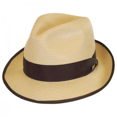 Latte Florentine Milan Straw Fedora Hat