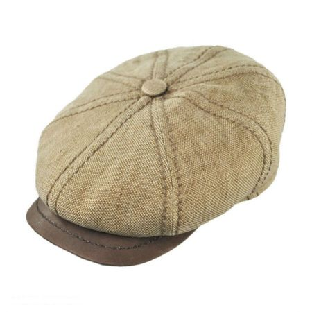 Stetson Linen and Leather Newsboy Cap