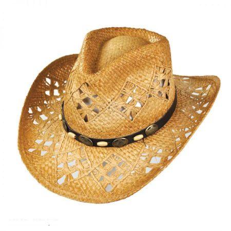 sur la tete Annie Oakley Raffia Straw Western Hat