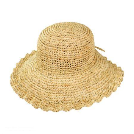 Crochet Raffia Ruffle Brim Floppy Hat