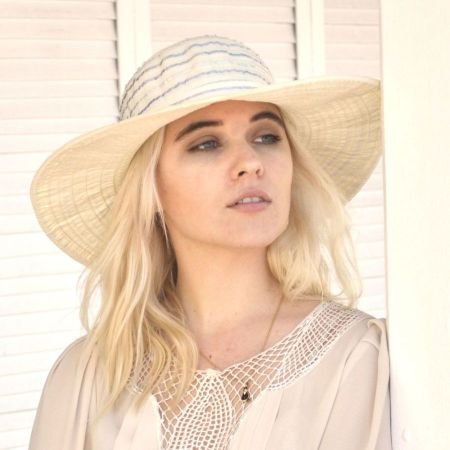 sur la tete Ribbon Swinger Sun Hat with Buttons