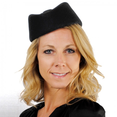 sur la tete Stewardess Wool Felt Pillbox Hat