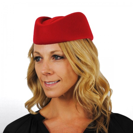Stewardess Wool Pillbox Hat