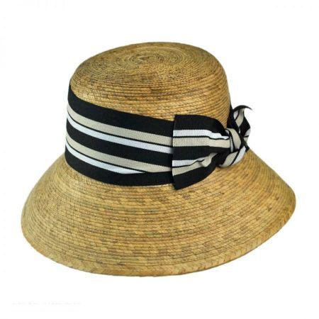 Tula Hats Ella Striped Bow Palm Straw Cloche Hat