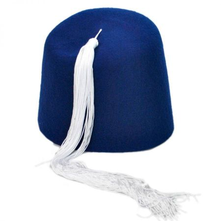 Village Hat Shop Blue Fez with White Tassel