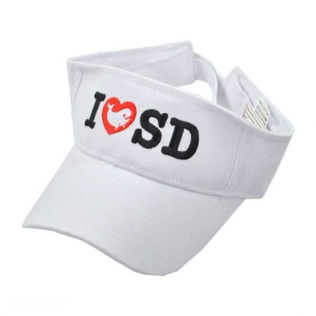 Village Hat Shop I LOVE SD Whale Adjustable Cotton Visor