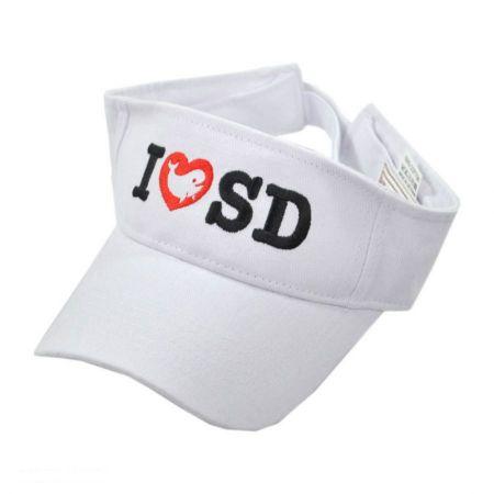 Village Hat Shop I Love SD Whale Cotton Adjustable Visor