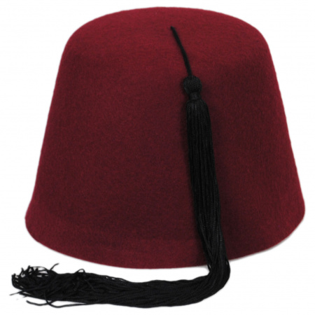 Village Hat Shop Maroon Fez with Black Tassel