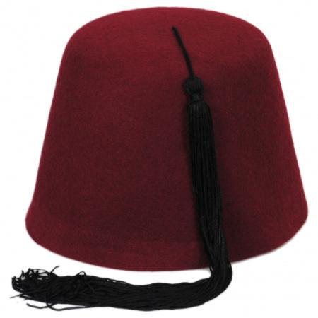 Village Hat Shop Maroon Wool Fez with Black Tassel