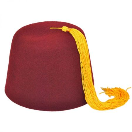 Maroon Wool Fez with Gold Tassel