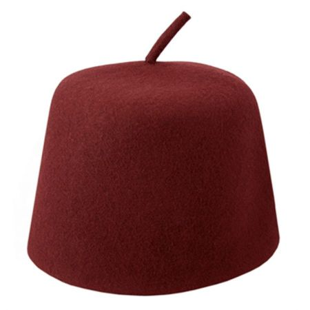 Maroon Wool Fez with Stem