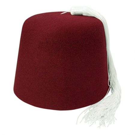 Village Hat Shop Maroon Fez w/ White Tassel