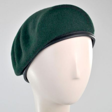Wool Military Beret with Lambskin Band alternate view 180