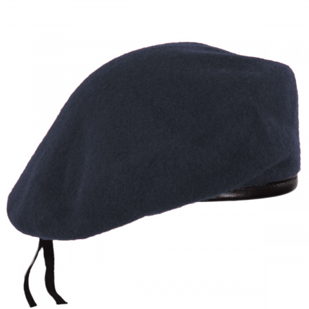 Village Hat Shop Wool Military Beret with Lambskin Band