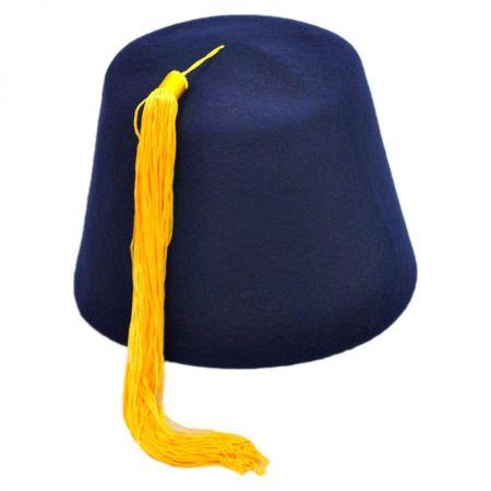 Village Hat Shop Navy Blue Wool Fez with Gold Tassel