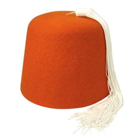 Village Hat Shop Orange Wool Fez with White Tassel