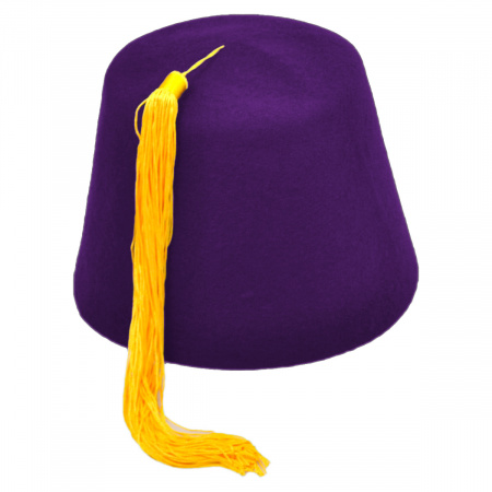 Village Hat Shop Purple Fez with Gold Tassel