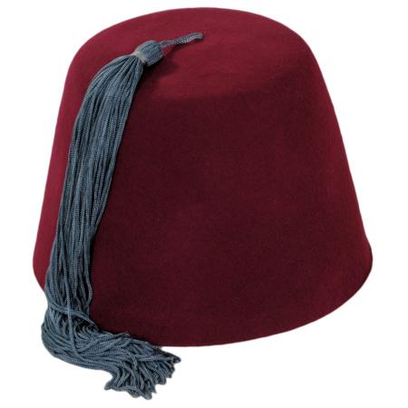 Village Hat Shop Red Fez with Gray Tassel