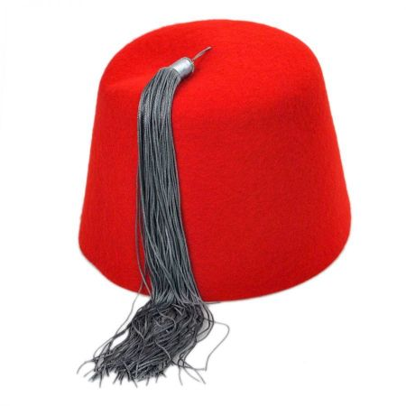 Village Hat Shop Red Wool Fez with Gray Tassel
