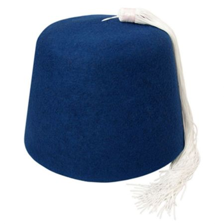 B2B Blue Fez with White Tassel