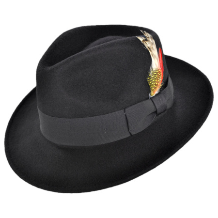 B2B Jaxon C-Crown Crushable Wool Felt Fedora Hat