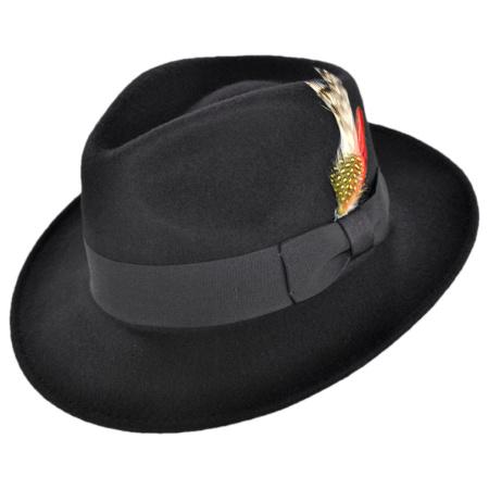 B2B Jaxon C-Crown Crushable Wool Felt Fedora Hat