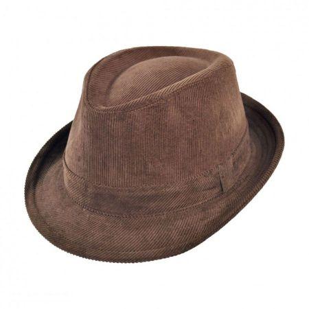 B2B Jaxon Corduroy C-Crown Stingy Brim Fedora Hat