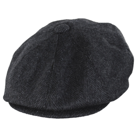 B2B Jaxon Large Herringbone Wool Blend Newsboy Cap