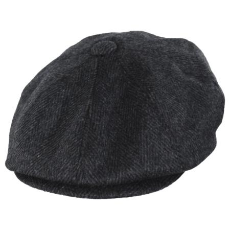 B2B Jaxon Large Herringbone Wool Blend Newsboy Cap