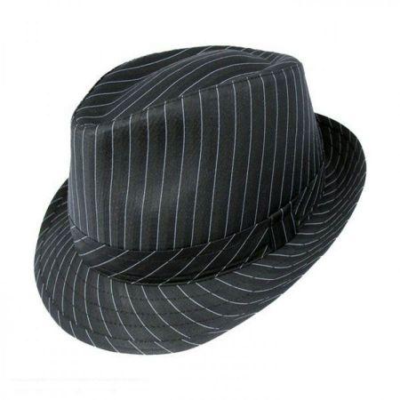 B2B Jaxon Pinstripe Fabric C-Crown Trilby Fedora Hat