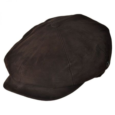 Matte Nappa Leather Newsboy Cap alternate view 5