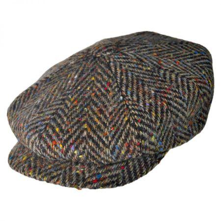 Large Herringbone Donegal Tweed Wool Newsboy Cap - Brown alternate view 9