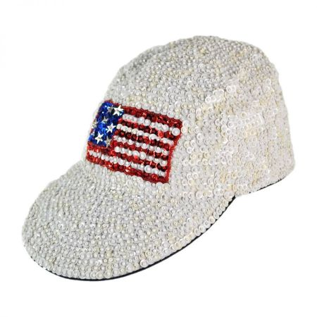 JC Sequins Sequin Baseball Cap - USA Flag