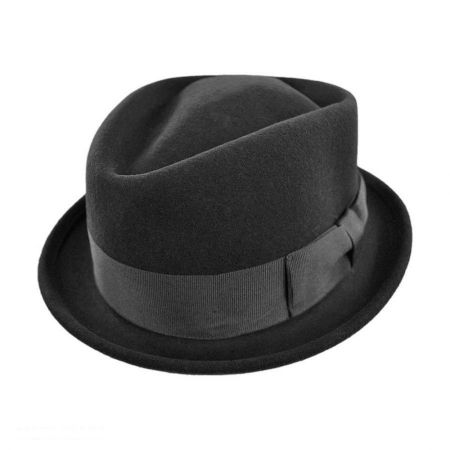B2B Jaxon Crushable Wool Felt Diamond Crown Fedora Hat