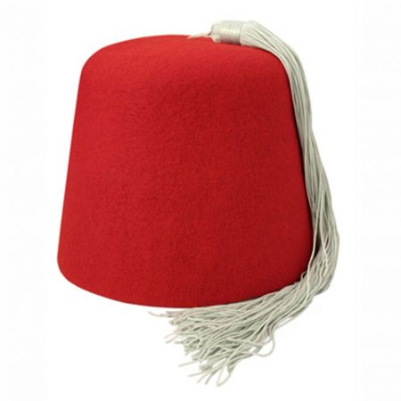 B2B Red Fez with Grey Tassel