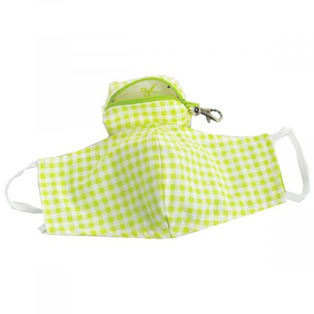 Lime Gingham Filter Pocket Cotton Face Cover + Pouch