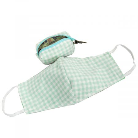 Village Hat Shop Mint Green Gingham Filter Pocket Cotton Face Cover + Pouch