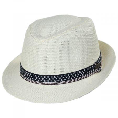 Panama Jack Patriotic Toyo Straw Fedora Hat