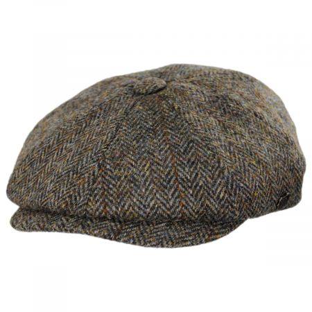 Failsworth Harris Tweed Overcheck Herringbone Wool Newsboy Cap