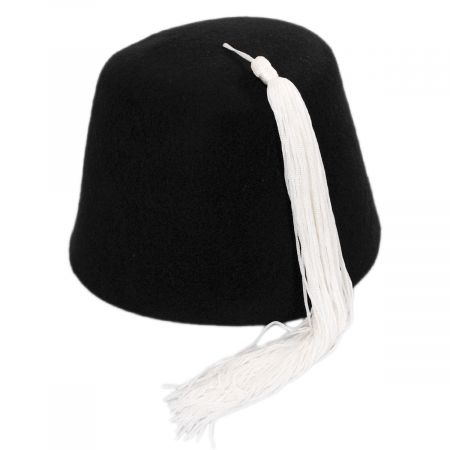 Village Hat Shop Black Wool Fez with White Tassel