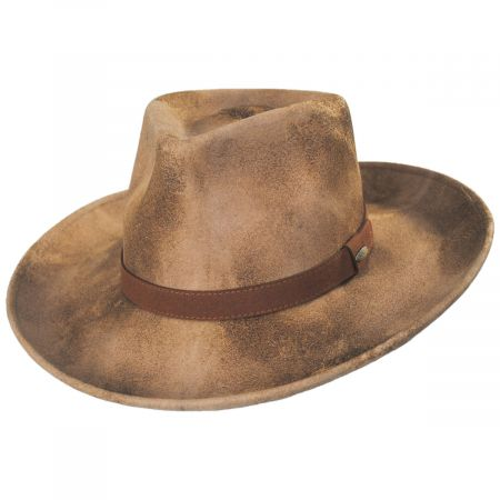 Scala Arizona Distressed Wool Felt Fedora Hat