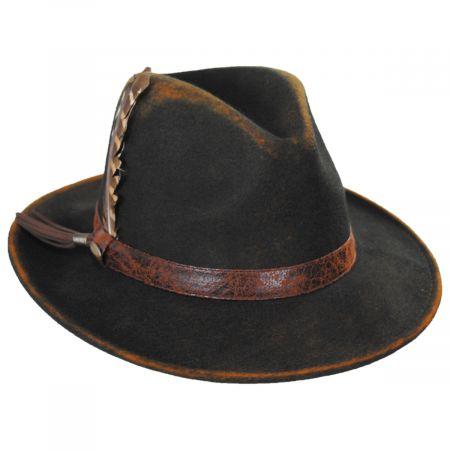 Scala Woodstock Distressed Wool Felt Safari Fedora Hat
