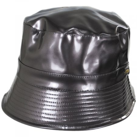 Scala Pluie Faux Leather Rain Bucket Hat
