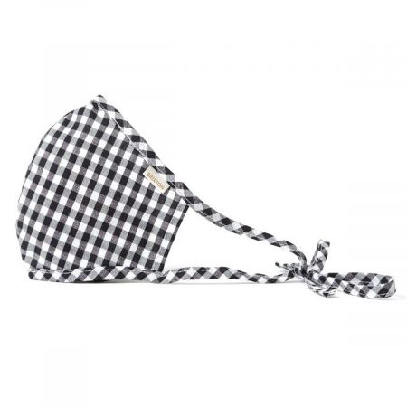 Antimicrobial Adjustable Ear Ties Gingham Cotton Face Cover