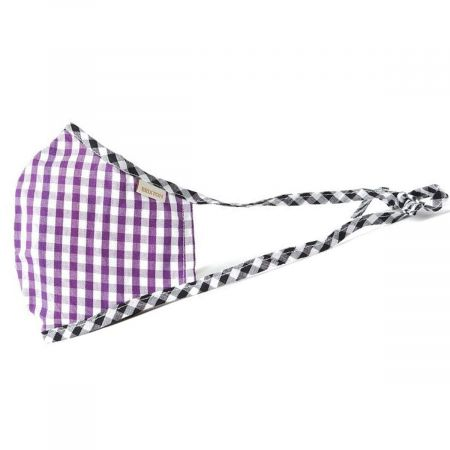 Antimicrobial Adjustable Ear Ties Gingham Cotton Face Cover alternate view 5
