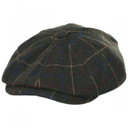 Brood Windowpane Plaid Baggy Newsboy Cap
