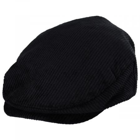 Hooligan Black Cotton Corduroy Ivy Cap