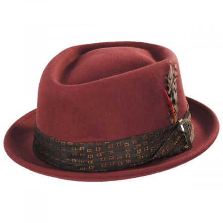 Stout Brick Wool Felt Diamond Crown Fedora Hat