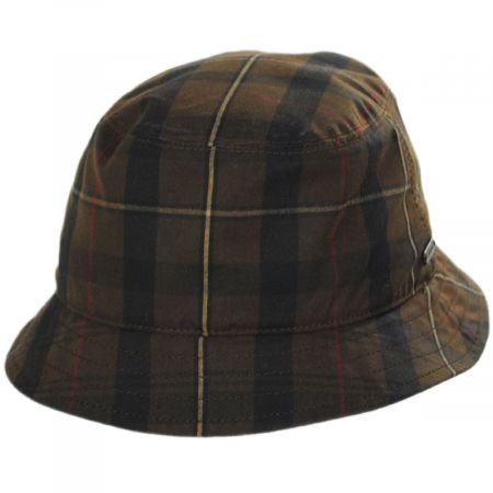 British Millerain Waxed Plaid Cotton Rain Bucket Hat alternate view 9